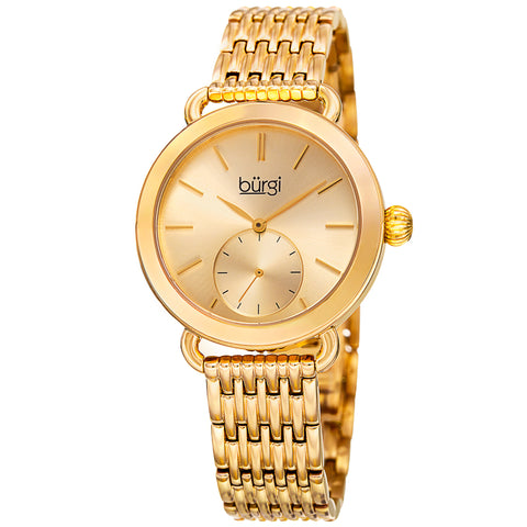 Burgi Women's Quartz Swarovski Crystal Easy-to-Read Rose-Tone Bracelet Watch