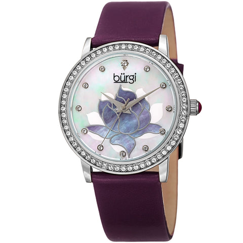 Burgi Women's BUR159 Swarovski Crystal Bezel Mother of Pearl Flower Watch BUR159PU