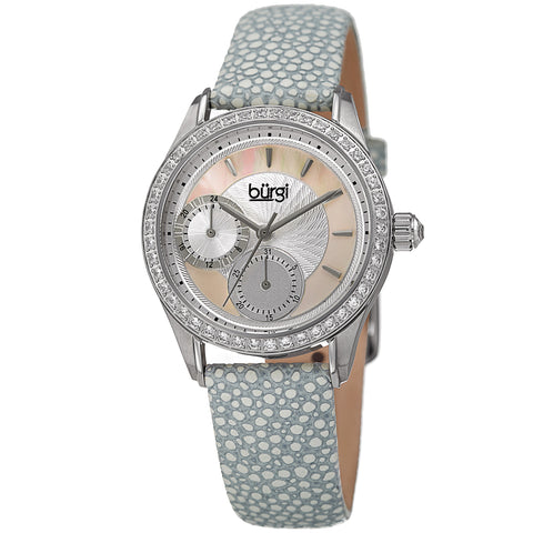 Burgi Women's BUR160GY Multi-Function Mother-of-Pearl Dial with Textured Leather Strap Watch