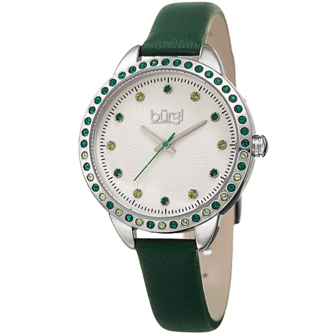 Burgi Women's Quartz Swarovski Crystal Green Leather Strap Watch BUR161GN
