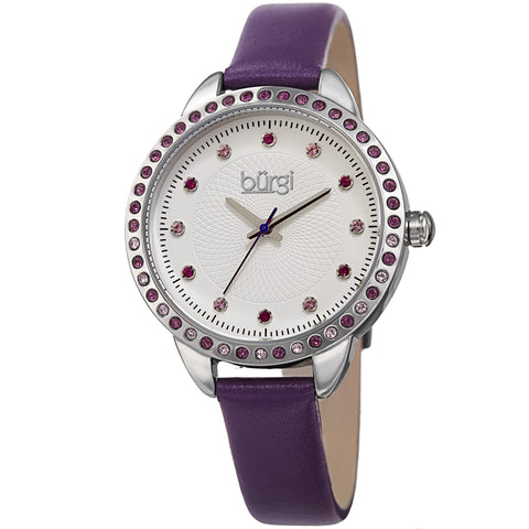Burgi Women's BUR161  Swarovski Colored Crystal Bezel Embossed Dial Strap Watch BUR161PU