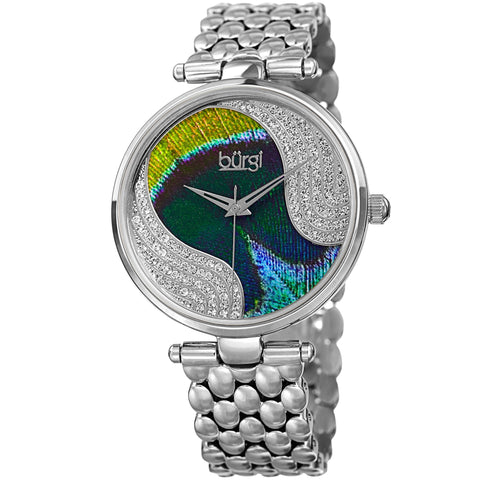 Burgi Women's Quartz Peacock Dial Stainless Steel Bracelet Watch Made w/ Swarovski Crystals Watch BUR162SS