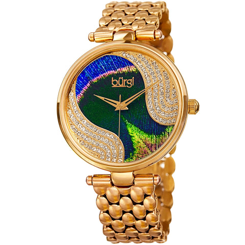 Burgi Women's Quartz Peacock Dial Stainless Steel Bracelet Watch Made w/ Swarovski Crystals Watch BUR162YG