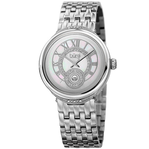 Burgi Women's Quartz  Mother of Pearl Dial Silver-Tone Bracelet Watch BUR164SS