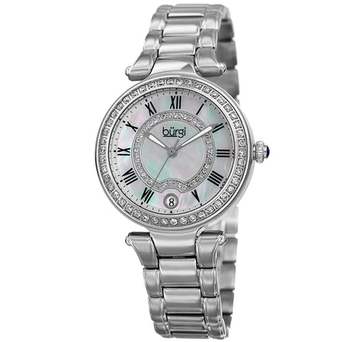 Burgi Women's Quartz  Mother of Pearl Stainless Steel Silver-Tone Bracelet Watch BUR165SS