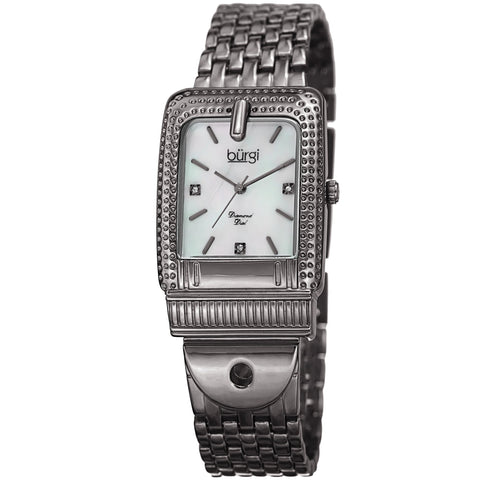 Burgi Women's BUR171GN Mother of Pearl Diamond Buckle Design Bracelet Watch