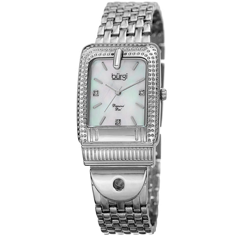 Burgi Women's BUR171SS Mother of Pearl Diamond Buckle Design Bracelet Watch
