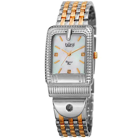 Burgi Women's BUR171TTG Mother of Pearl Diamond Buckle Design Bracelet Watch