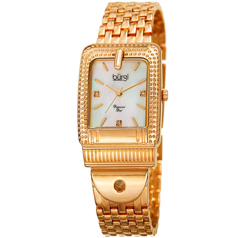 Burgi Women's BUR171YG Mother of Pearl Diamond Buckle Design Bracelet Watch