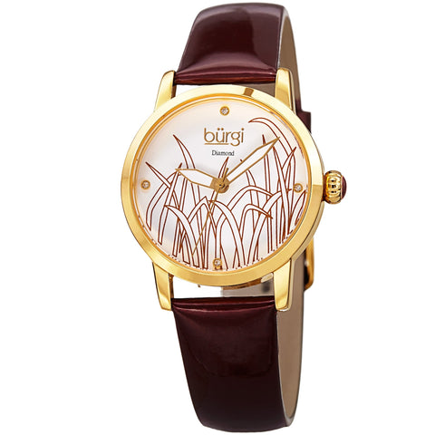 Burgi Women's Diamond Reed Design Dial Gold-Tone/Burgundy Leather Strap Watch BUR173BUR