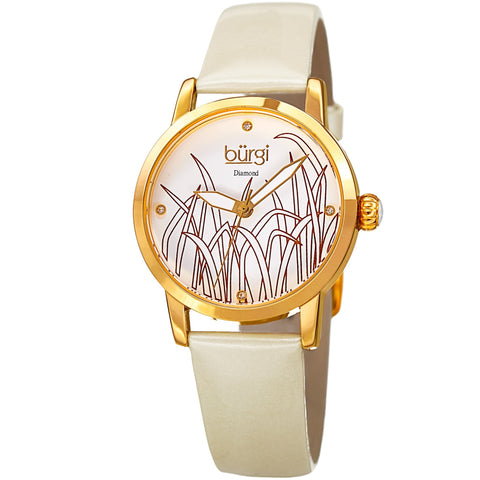 Burgi Women's Diamond Reed Design Dial Gold-Tone/White Leather Strap Watch BUR173WT