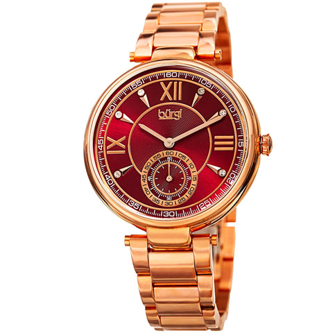 Burgi Women's Quartz Crystal Markers  Rose-Tone Bracelet Watch BUR175RG