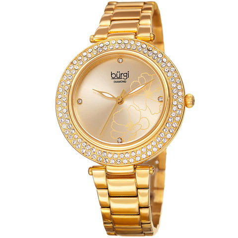 Burgi Women's Quartz Printed Flower Pattern Stainless Steel Gold-Tone Bracelet Watch BUR179YG