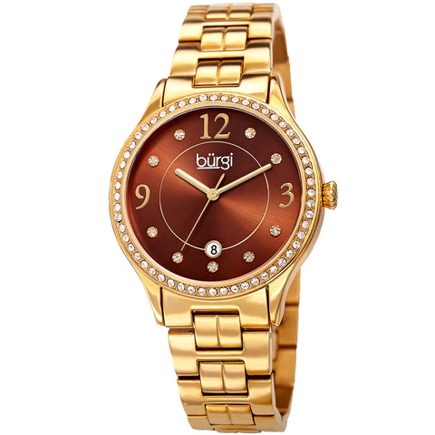 Burgi Women's Swarovski Crystral Sunray Dial Stainless Steel Watch BUR180YGBR