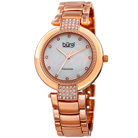 Burgi Women's Quartz Mother-of-Pearl Stainless Steel Rose-Tone Bracelet Watch BUR181RG
