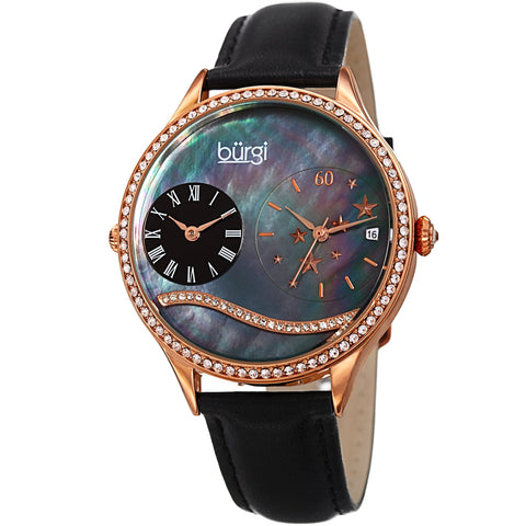 Burgi Women's  Quartz Mother-of-Pearl Dual time Rose-Tone  Strap Watch BUR184BKR
