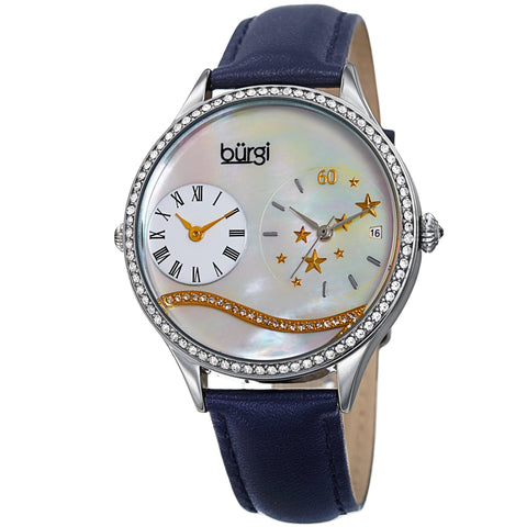 Burgi Women's  Quartz Mother-of-Pearl Dual time Silver-Tone Strap Watch BUR184BU