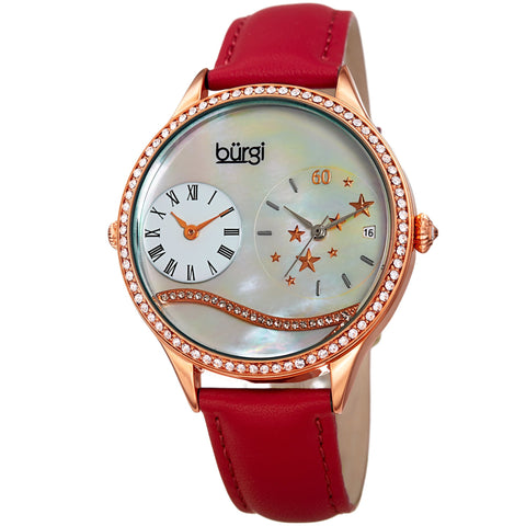 Burgi Women's  Quartz Mother-of-Pearl Dual time  Rose-Tone Strap Watch BUR184RD