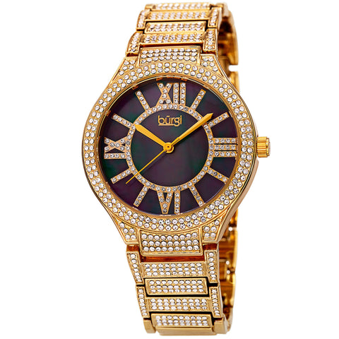 Burgi Women's Quartz Crystal Accented Bracelet Watch BUR185YG
