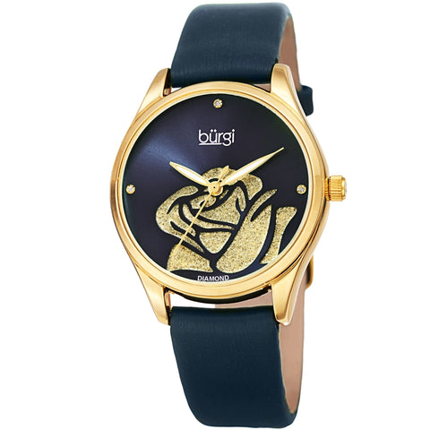 Burgi Women's Quartz  Rose Cut-Out Dial with Glitter Powder Satin Over Leather Strap Watch BUR189BU