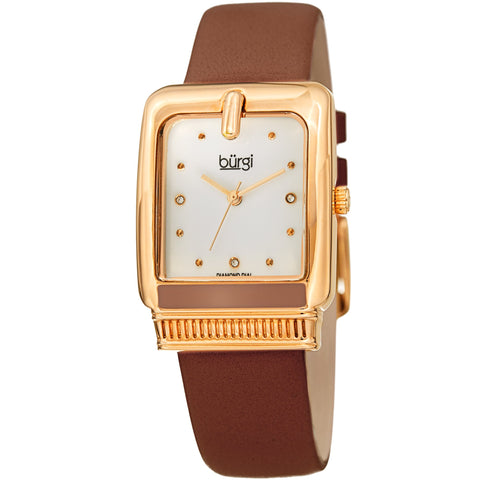 Burgi Women's BUR192 Quartz Diamond Marker Rectangle Case Leather Strap Watch BUR192BR