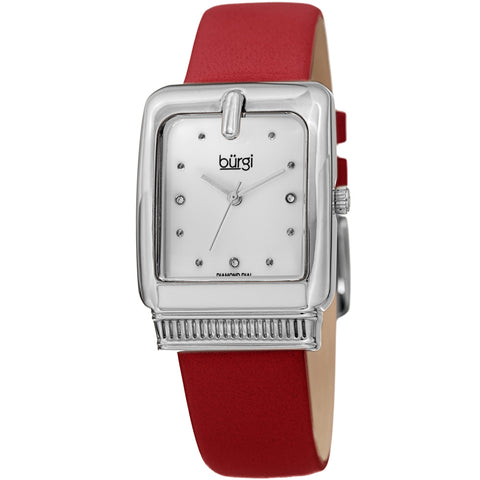 Burgi Women's BUR192 Quartz Diamond Marker Rectangle Case Leather Strap Watch BUR192RD