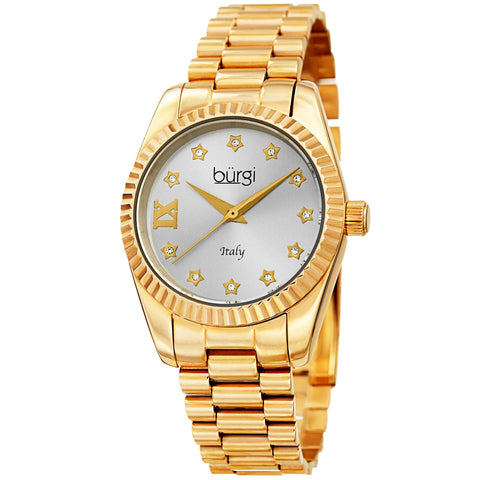 Women's Burgi BUR194YG Swiss Swarovski Stainless Steel Gold Tone Bracelet Watch