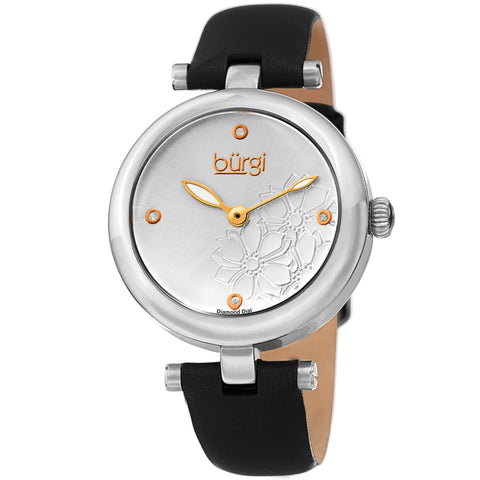 Burgi Women's Diamond Accented Flower Dial Watch - Comfortable Leather Strap BUR197SSB