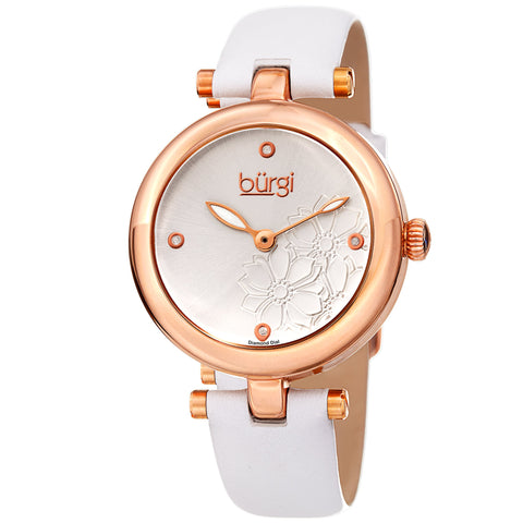 Burgi Women's Diamond Accented Flower Dial Watch - Comfortable Leather Strap BUR197WTR