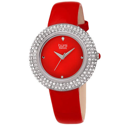 Burgi Women's Swarovski Crystal & Diamond Accented Silver & Fiery Red Leather Strap Watch BUR199RD