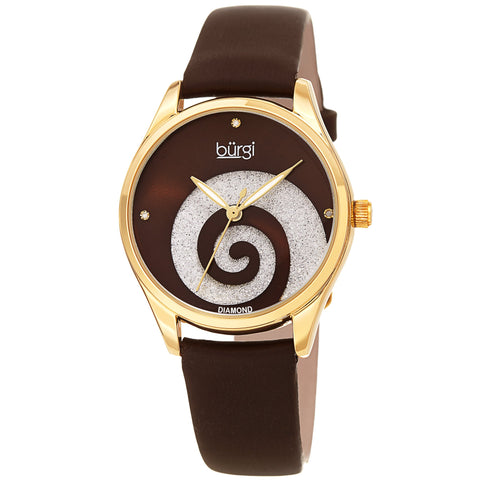 Burgi Women's BUR201 Swarovski Swirl Diamond Marker Satin Leather Strap Watch BUR201BR