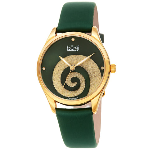 Burgi Women's BUR201 Swarovski Swirl Diamond Marker Satin Leather Strap Watch BUR201GN