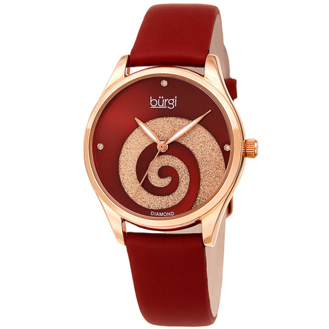 Burgi Women's BUR201 Swarovski Swirl Diamond Marker Satin Leather Strap Watch BUR201RGR