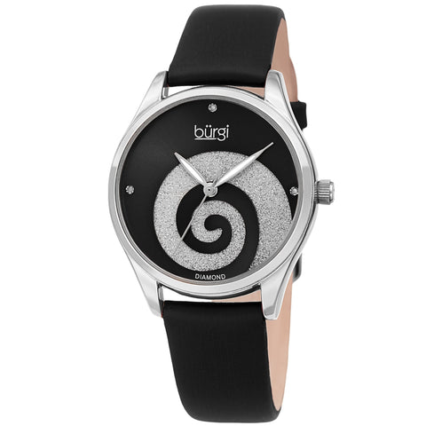 Burgi Women's BUR201 Swarovski Swirl Diamond Marker Satin Leather Strap Watch BUR201SSBK