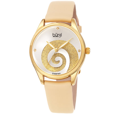 Burgi Women's BUR201 Swarovski Swirl Diamond Marker Satin Leather Strap Watch BUR201YG