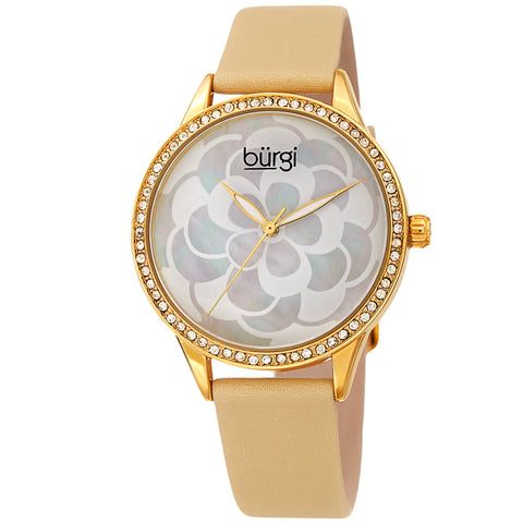 Burgi Women's BUR209 Swarovski Crystal Diamond Sparkle Leather Watch BUR203YG