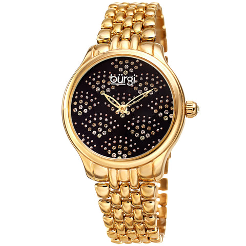 Burgi Women's BUR205 Swarovski Crystal Diamond Sparkle Bracelet Watch BUR205YGB
