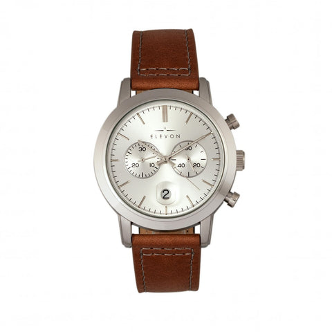 Elevon Langley Chronograph Leather-Band Watch w/ Date - Silver/Brown