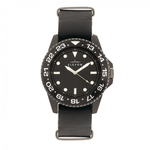 Elevon Dumont Leather-Band Watch - Black
