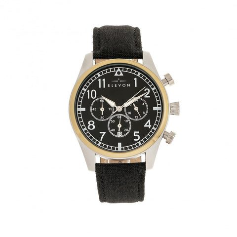 Elevon Curtiss Chronograph Nylon-Overlaid Leather-Band Watch - Gold/Black