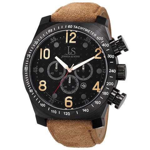 Joshua & Sons Men's Black Dotted Pattern Dial Chronograph on Black Leather Starp with Contrast Stiching Watch JS-14-TN
