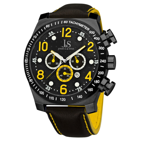 Joshua & Sons Men's Black Dotted Pattern Dial Chronograph on Black Leather Starp with Contrast Stiching Watch JS-14-YL