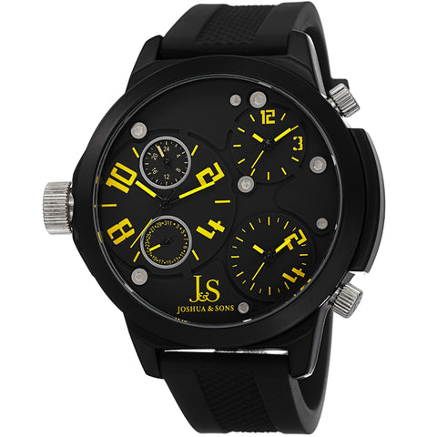 Joshua & Sons JS-40-YL Swiss Quartz Triple Time Zone Silicone Strap