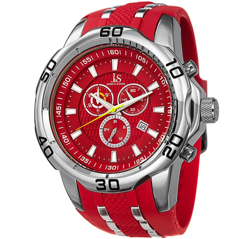 Joshua & Sons JS50RD Quartz Sporty Chronograph Date Silicone Strap Watch