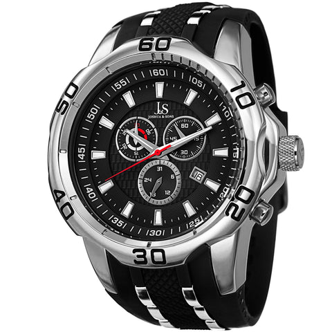 Joshua & Sons JS50SSB Quartz Sporty Chronograph Date Silicone Strap Watch