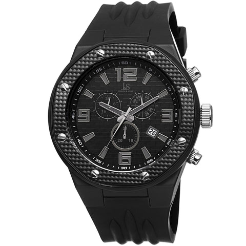 Joshua & Sons Men's Multifunction Swiss Quartz Watch with Brick Pattern  Dial and  Silicone Strap Watch  JS62BK