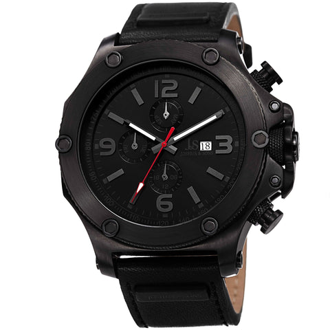 Joshua & Sons Men's Multifunction Swiss Quartz Watch With Black Dial and Black Leather Strap Watch  JS75BK