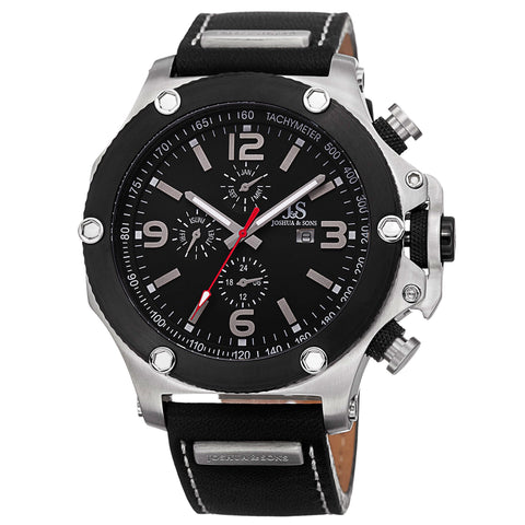 Joshua & Sons Men's Multifunction Swiss Quartz Watch With Black Dial and Black Leather Strap Watch  JS75SSB