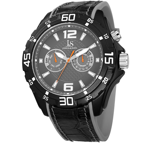 Joshua & Sons JS79GY Multifunction Swiss Quartz Layered Strap Mens Watch