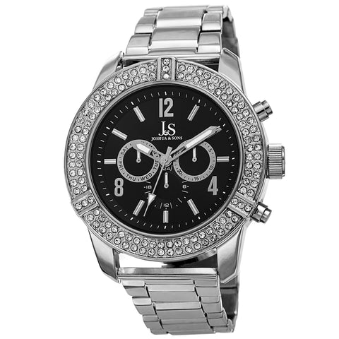 Joshua & Sons Men's JS81TTG Multifunction Swiss Quartz Watch with Crystal Accented Bezel